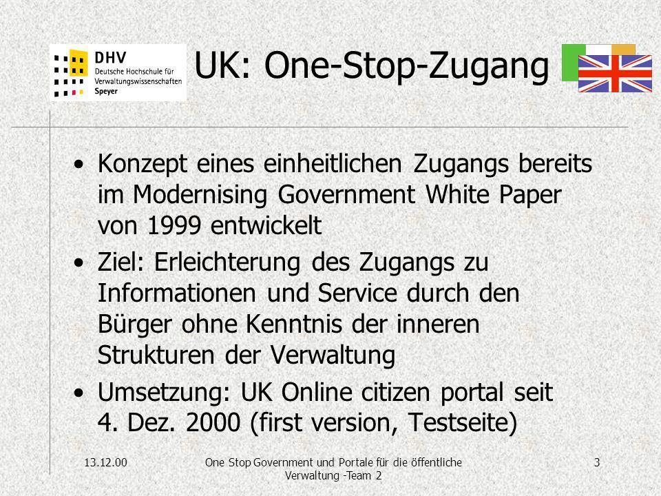13.12.003One Stop Government und Portale für die öffentliche Verwaltung -Team 2 UK: One-Stop-Zugang Konzept eines einheitlichen Zugangs bereits im Mod