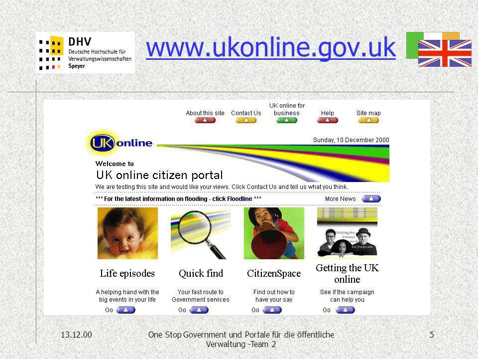 13.12.005One Stop Government und Portale für die öffentliche Verwaltung -Team 2 www.ukonline.gov.uk