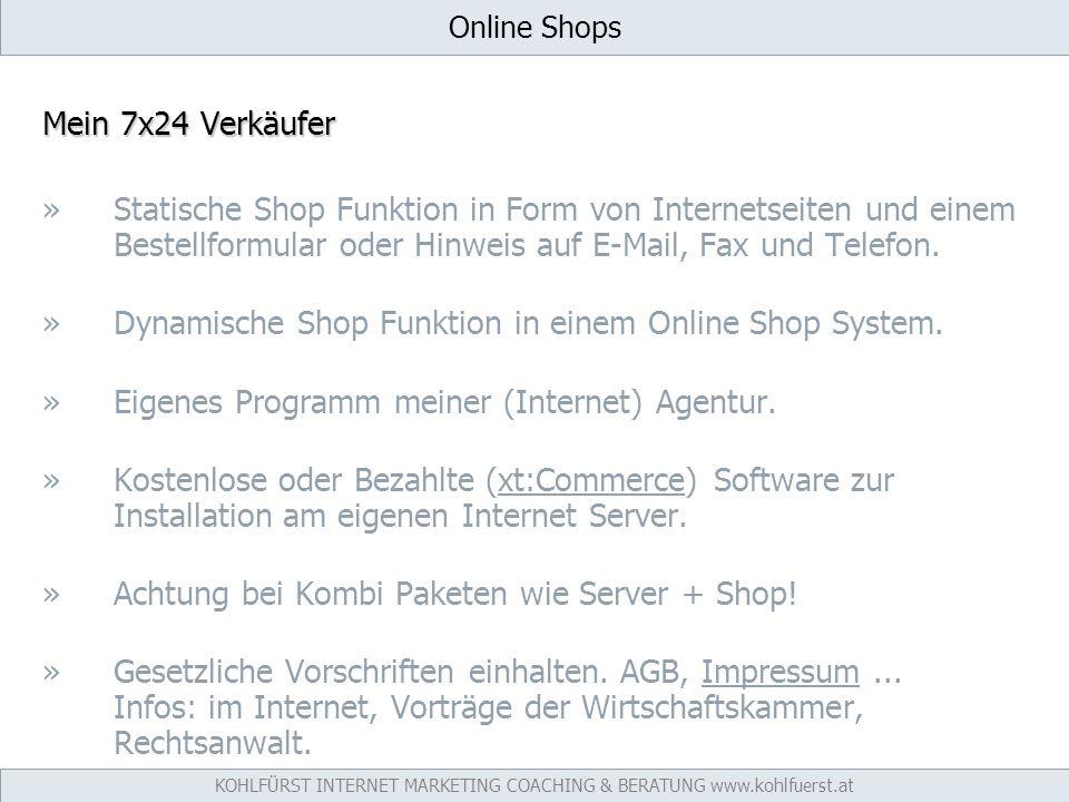 Online Shops Mein 7x24 Verkäufer »Statische Shop Funktion in Form von Internetseiten und einem Bestellformular oder Hinweis auf E-Mail, Fax und Telefon.
