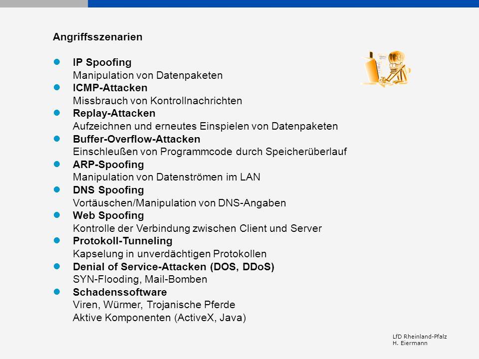 LfD Rheinland-Pfalz H. Eiermann Angriffsszenarien IP Spoofing Manipulation von Datenpaketen ICMP-Attacken Missbrauch von Kontrollnachrichten Replay-At