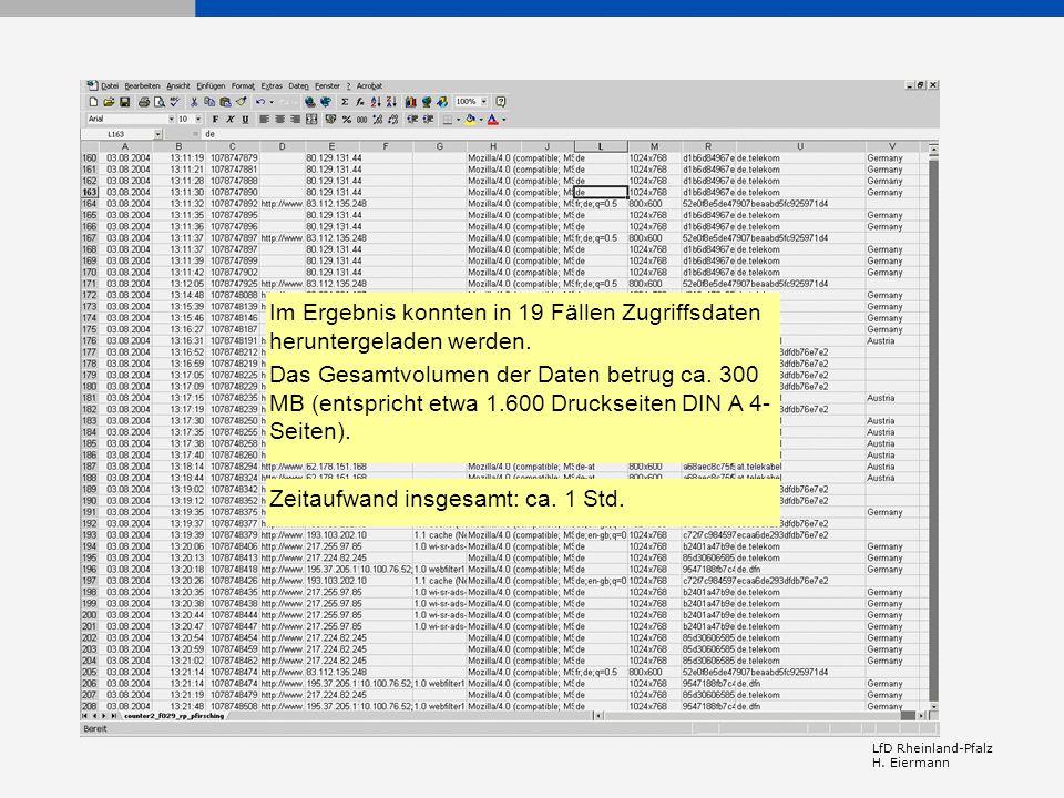 LfD Rheinland-Pfalz H. Eiermann Im Ergebnis konnten in 19 Fällen Zugriffsdaten heruntergeladen werden. Das Gesamtvolumen der Daten betrug ca. 300 MB (