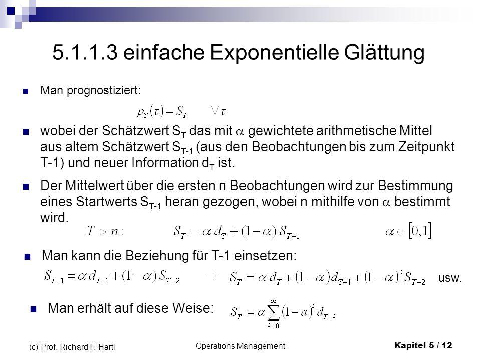 Operations ManagementKapitel 5 / 12 (c) Prof. Richard F. Hartl Man prognostiziert: 5.1.1.3 einfache Exponentielle Glättung wobei der Schätzwert S T da
