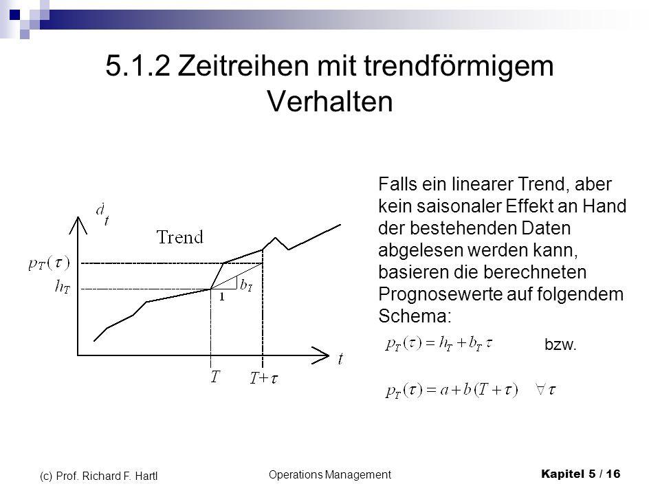 Operations ManagementKapitel 5 / 16 (c) Prof. Richard F. Hartl 5.1.2 Zeitreihen mit trendförmigem Verhalten Falls ein linearer Trend, aber kein saison