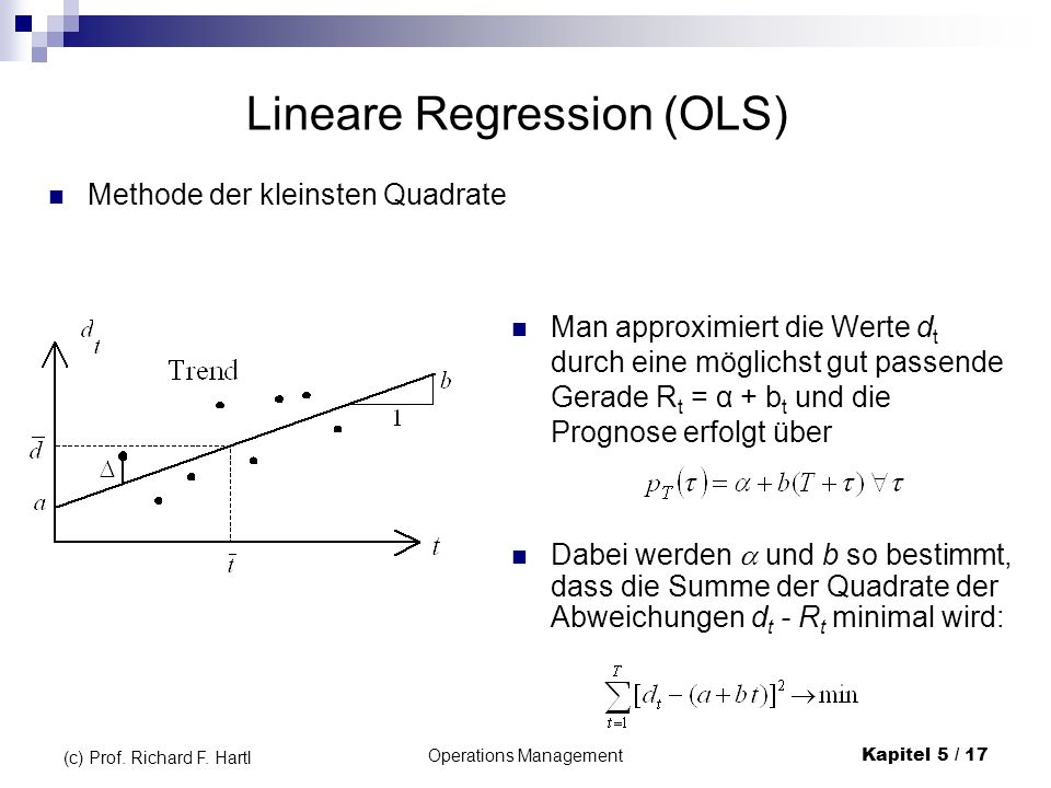 Operations ManagementKapitel 5 / 17 (c) Prof. Richard F. Hartl Lineare Regression (OLS) Dabei werden und b so bestimmt, dass die Summe der Quadrate de