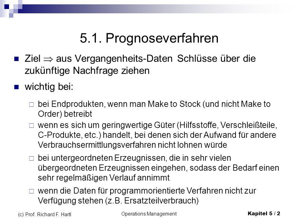 Operations ManagementKapitel 5 / 2 (c) Prof. Richard F. Hartl 5.1. Prognoseverfahren Ziel aus Vergangenheits-Daten Schlüsse über die zukünftige Nachfr