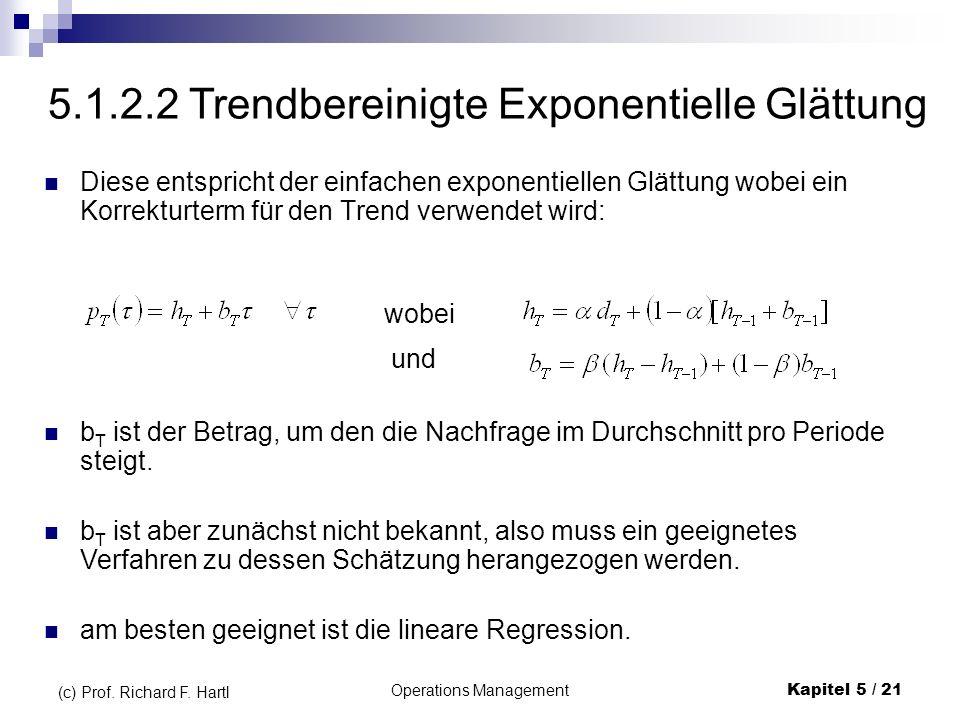 Operations ManagementKapitel 5 / 21 (c) Prof. Richard F. Hartl Diese entspricht der einfachen exponentiellen Glättung wobei ein Korrekturterm für den