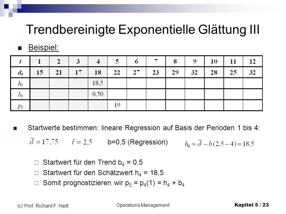 Operations ManagementKapitel 5 / 23 (c) Prof. Richard F. Hartl Trendbereinigte Exponentielle Glättung III Beispiel: Startwerte bestimmen: lineare Regr