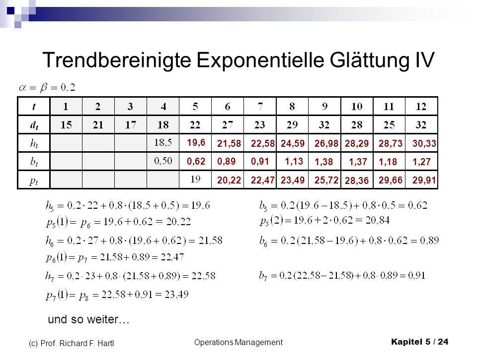 Operations ManagementKapitel 5 / 24 (c) Prof. Richard F. Hartl Trendbereinigte Exponentielle Glättung IV 19,6 0,62 21,58 0,89 20,22 22,58 0,91 22,47 2