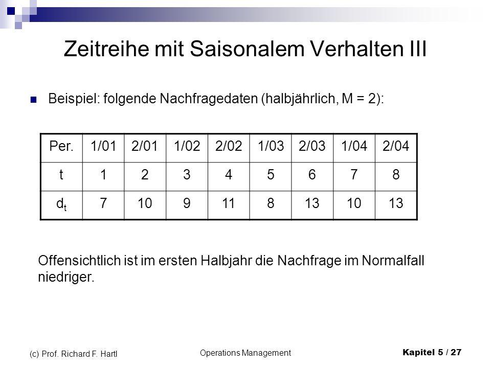 Operations ManagementKapitel 5 / 27 (c) Prof. Richard F. Hartl Zeitreihe mit Saisonalem Verhalten III Beispiel: folgende Nachfragedaten (halbjährlich,
