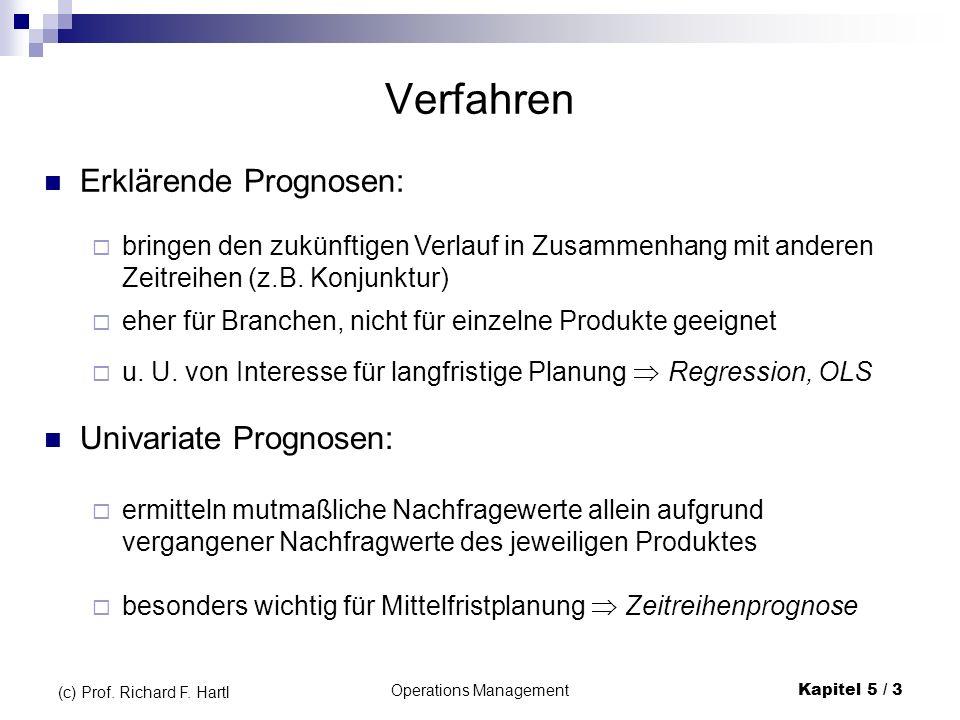 Operations ManagementKapitel 5 / 3 (c) Prof. Richard F. Hartl Verfahren Erklärende Prognosen: bringen den zukünftigen Verlauf in Zusammenhang mit ande