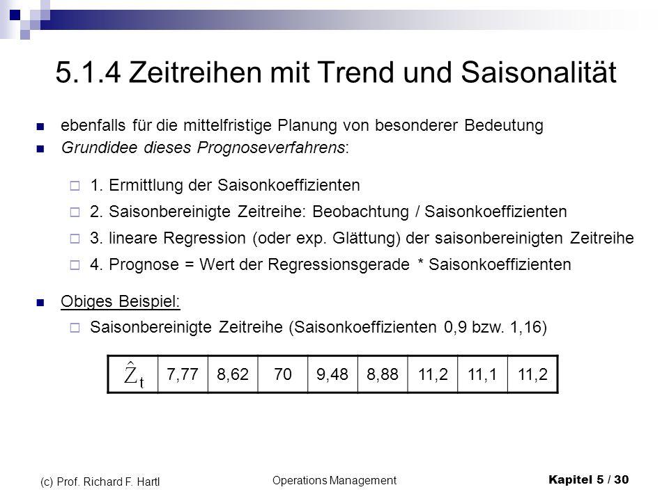 Operations ManagementKapitel 5 / 30 (c) Prof. Richard F. Hartl 5.1.4 Zeitreihen mit Trend und Saisonalität ebenfalls für die mittelfristige Planung vo