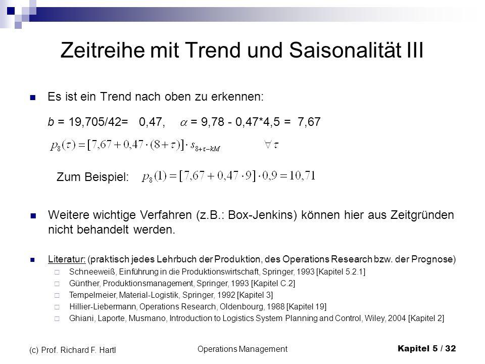 Operations ManagementKapitel 5 / 32 (c) Prof. Richard F. Hartl Zeitreihe mit Trend und Saisonalität III Es ist ein Trend nach oben zu erkennen: b = 19