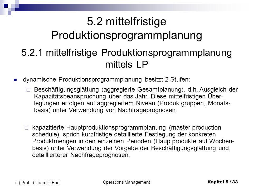 Operations ManagementKapitel 5 / 33 (c) Prof. Richard F. Hartl 5.2 mittelfristige Produktionsprogrammplanung dynamische Produktionsprogrammplanung bes