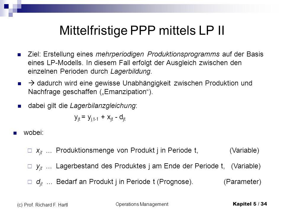 Operations ManagementKapitel 5 / 34 (c) Prof. Richard F. Hartl Mittelfristige PPP mittels LP II Ziel: Erstellung eines mehrperiodigen Produktionsprogr