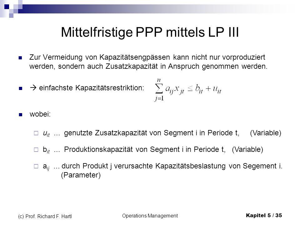 Operations ManagementKapitel 5 / 35 (c) Prof. Richard F. Hartl Mittelfristige PPP mittels LP III Zur Vermeidung von Kapazitätsengpässen kann nicht nur