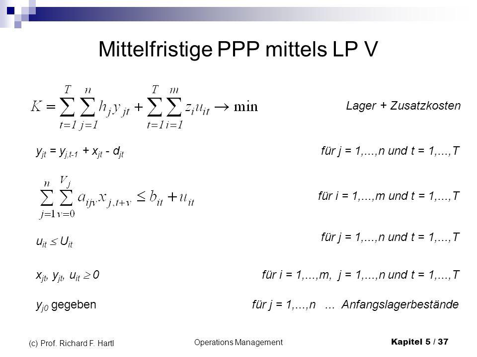 Operations ManagementKapitel 5 / 37 (c) Prof. Richard F. Hartl Mittelfristige PPP mittels LP V y jt = y j,t-1 + x jt - d jt x jt, y jt, u it 0 u it U