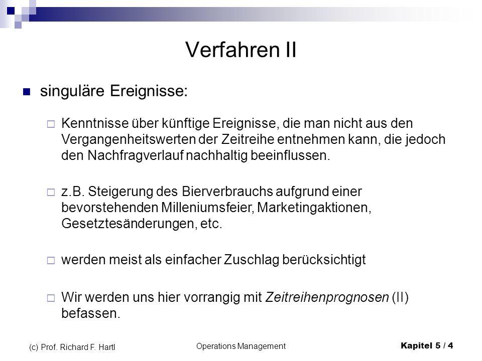 Operations ManagementKapitel 5 / 4 (c) Prof. Richard F. Hartl Verfahren II singuläre Ereignisse: Kenntnisse über künftige Ereignisse, die man nicht au