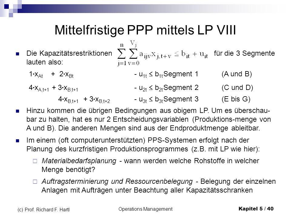 Operations ManagementKapitel 5 / 40 (c) Prof. Richard F. Hartl Die Kapazitätsrestriktionen für die 3 Segmente lauten also: Mittelfristige PPP mittels