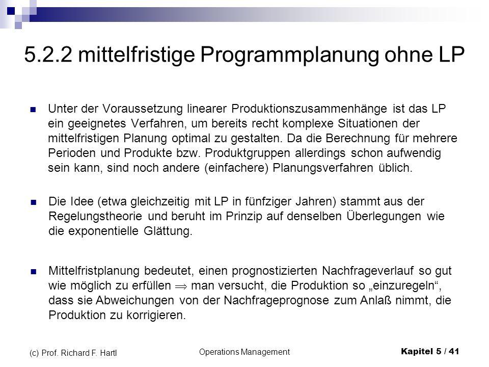 Operations ManagementKapitel 5 / 41 (c) Prof. Richard F. Hartl 5.2.2 mittelfristige Programmplanung ohne LP Unter der Voraussetzung linearer Produktio