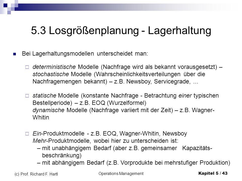 Operations ManagementKapitel 5 / 43 (c) Prof. Richard F. Hartl 5.3 Losgrößenplanung - Lagerhaltung deterministische Modelle (Nachfrage wird als bekann