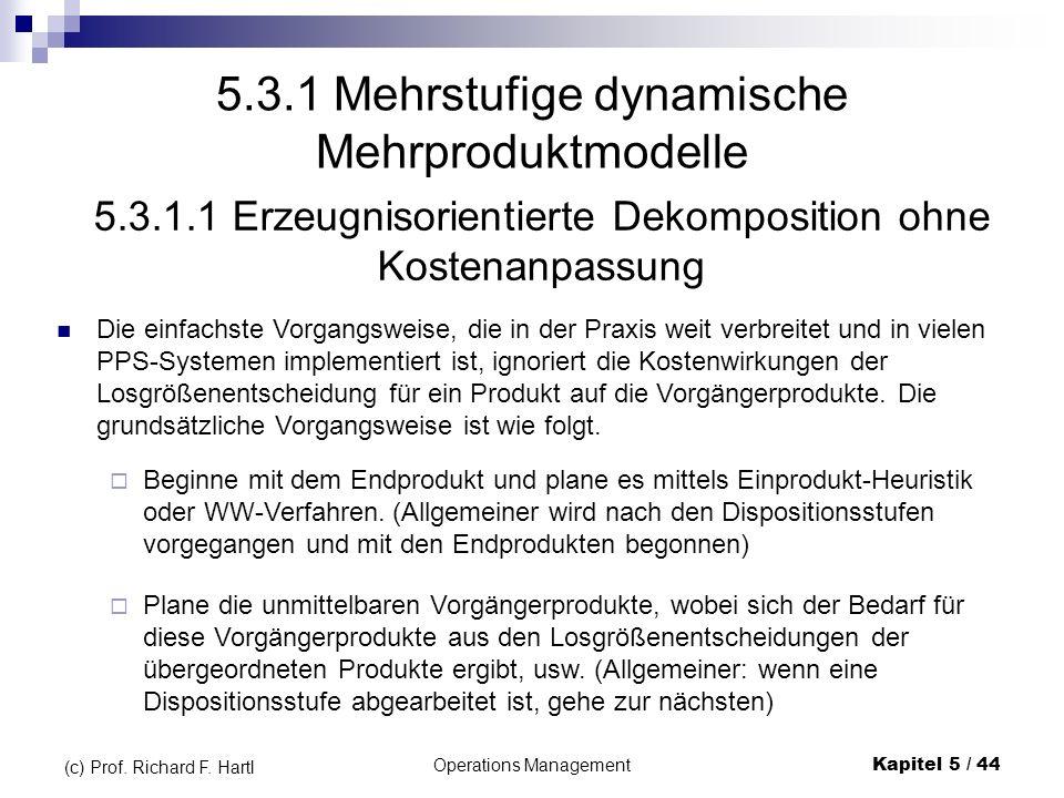 Operations ManagementKapitel 5 / 44 (c) Prof. Richard F. Hartl 5.3.1 Mehrstufige dynamische Mehrproduktmodelle Die einfachste Vorgangsweise, die in de