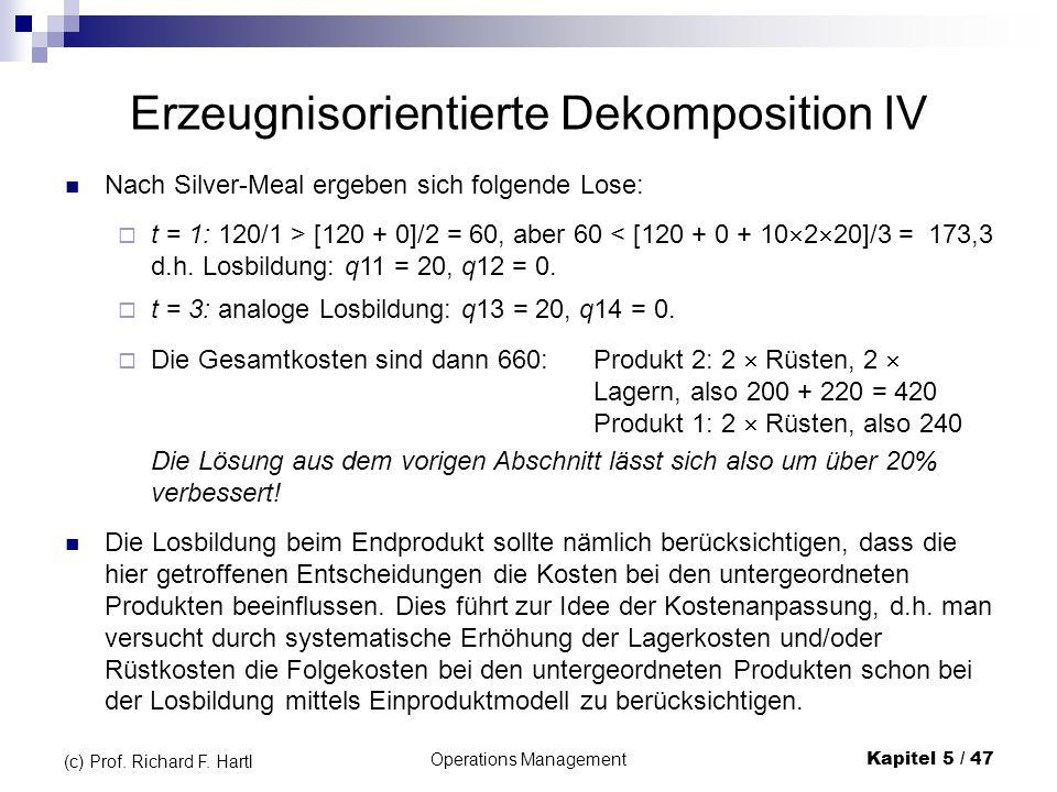 Operations ManagementKapitel 5 / 47 (c) Prof. Richard F. Hartl Erzeugnisorientierte Dekomposition IV Nach Silver-Meal ergeben sich folgende Lose: t =