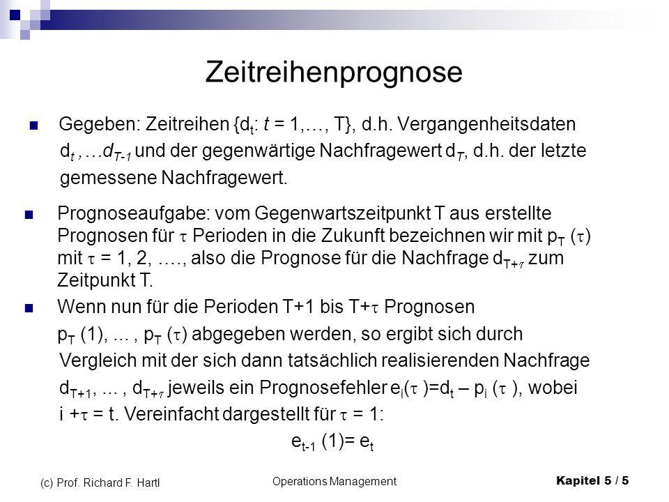 Operations ManagementKapitel 5 / 5 (c) Prof. Richard F. Hartl Zeitreihenprognose Gegeben: Zeitreihen {d t : t = 1,…, T}, d.h. Vergangenheitsdaten d t,