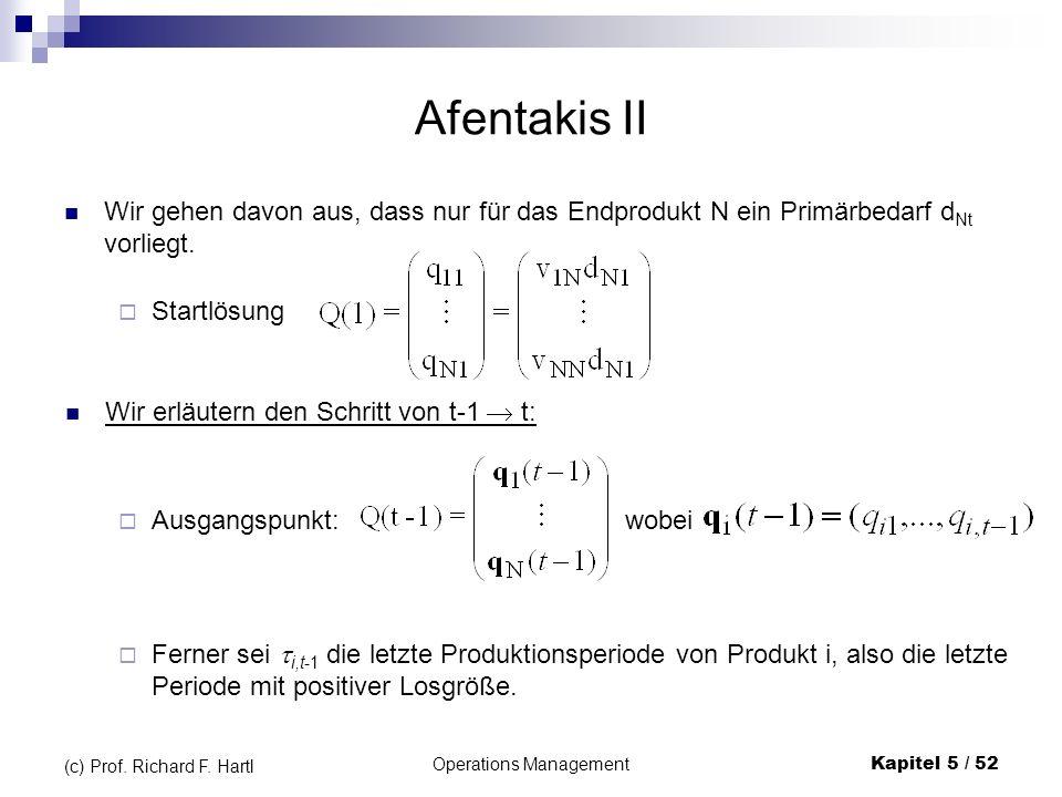 Operations ManagementKapitel 5 / 52 (c) Prof. Richard F. Hartl Afentakis II Wir gehen davon aus, dass nur für das Endprodukt N ein Primärbedarf d Nt v