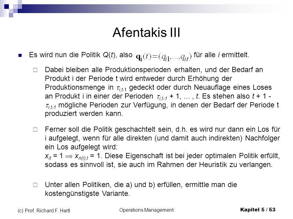 Operations ManagementKapitel 5 / 53 (c) Prof. Richard F. Hartl Afentakis III Es wird nun die Politik Q(t), also für alle i ermittelt. Unter allen Poli