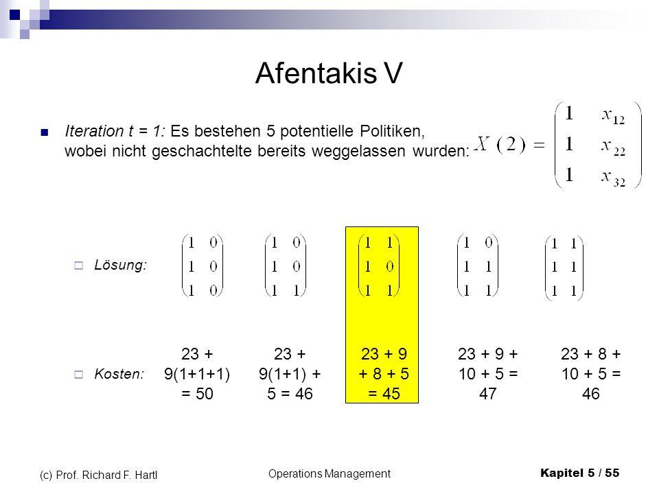 Operations ManagementKapitel 5 / 55 (c) Prof. Richard F. Hartl Afentakis V Iteration t = 1: Es bestehen 5 potentielle Politiken, wobei nicht geschacht