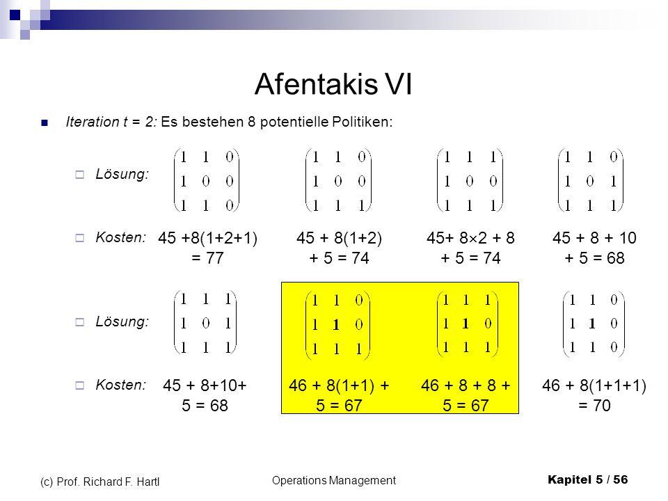 Operations ManagementKapitel 5 / 56 (c) Prof. Richard F. Hartl Afentakis VI Iteration t = 2: Es bestehen 8 potentielle Politiken: Kosten: Lösung: 45 +