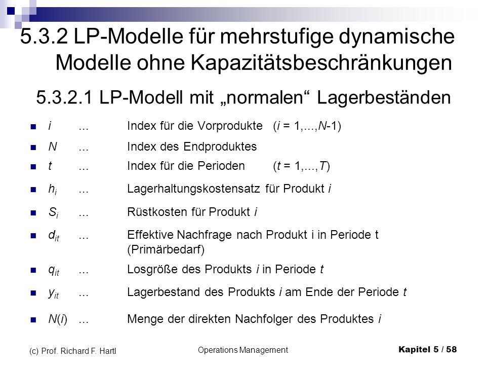 Operations ManagementKapitel 5 / 58 (c) Prof. Richard F. Hartl 5.3.2 LP-Modelle für mehrstufige dynamische Modelle ohne Kapazitätsbeschränkungen 5.3.2