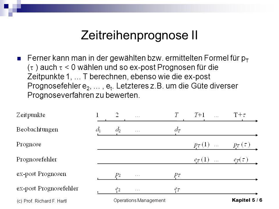 Operations ManagementKapitel 5 / 6 (c) Prof. Richard F. Hartl Zeitreihenprognose II Ferner kann man in der gewählten bzw. ermittelten Formel für p T (
