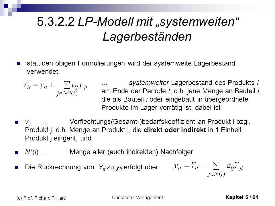 Operations ManagementKapitel 5 / 61 (c) Prof. Richard F. Hartl 5.3.2.2 LP-Modell mit systemweiten Lagerbeständen statt den obigen Formulierungen wird
