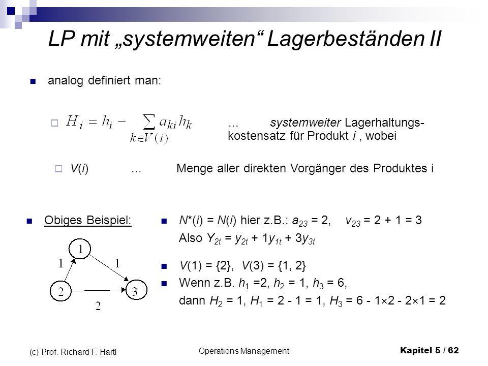 Operations ManagementKapitel 5 / 62 (c) Prof. Richard F. Hartl LP mit systemweiten Lagerbeständen II analog definiert man:...systemweiter Lagerhaltung