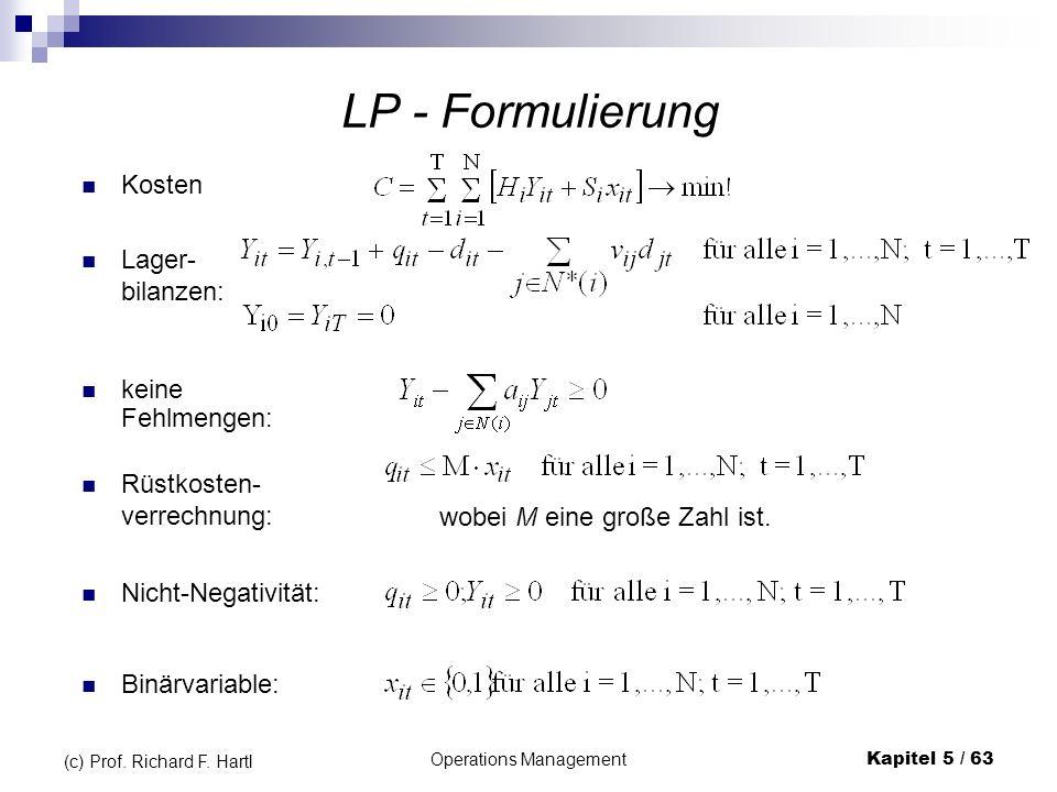 Operations ManagementKapitel 5 / 63 (c) Prof. Richard F. Hartl LP - Formulierung keine Fehlmengen: Kosten Lager- bilanzen: Rüstkosten- verrechnung: Ni