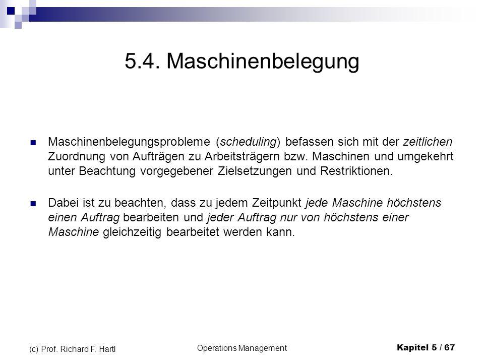 Operations ManagementKapitel 5 / 67 (c) Prof. Richard F. Hartl 5.4. Maschinenbelegung Maschinenbelegungsprobleme (scheduling) befassen sich mit der ze