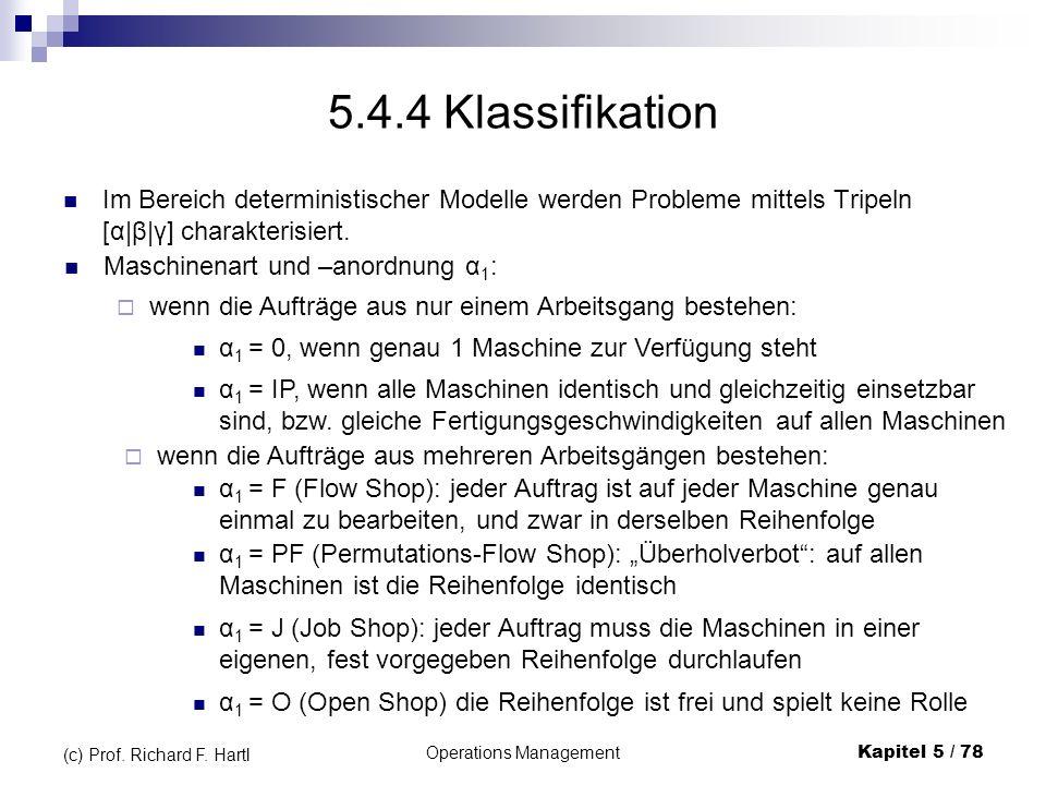Operations ManagementKapitel 5 / 78 (c) Prof. Richard F. Hartl 5.4.4 Klassifikation Im Bereich deterministischer Modelle werden Probleme mittels Tripe