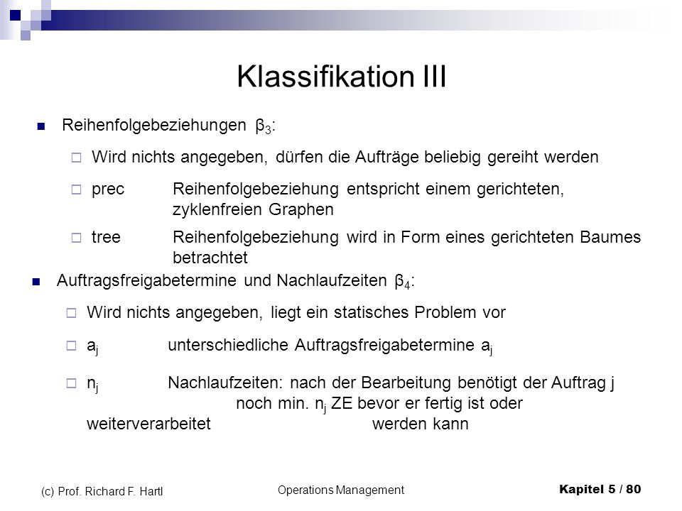 Operations ManagementKapitel 5 / 80 (c) Prof. Richard F. Hartl Klassifikation III Reihenfolgebeziehungen β 3 : precReihenfolgebeziehung entspricht ein