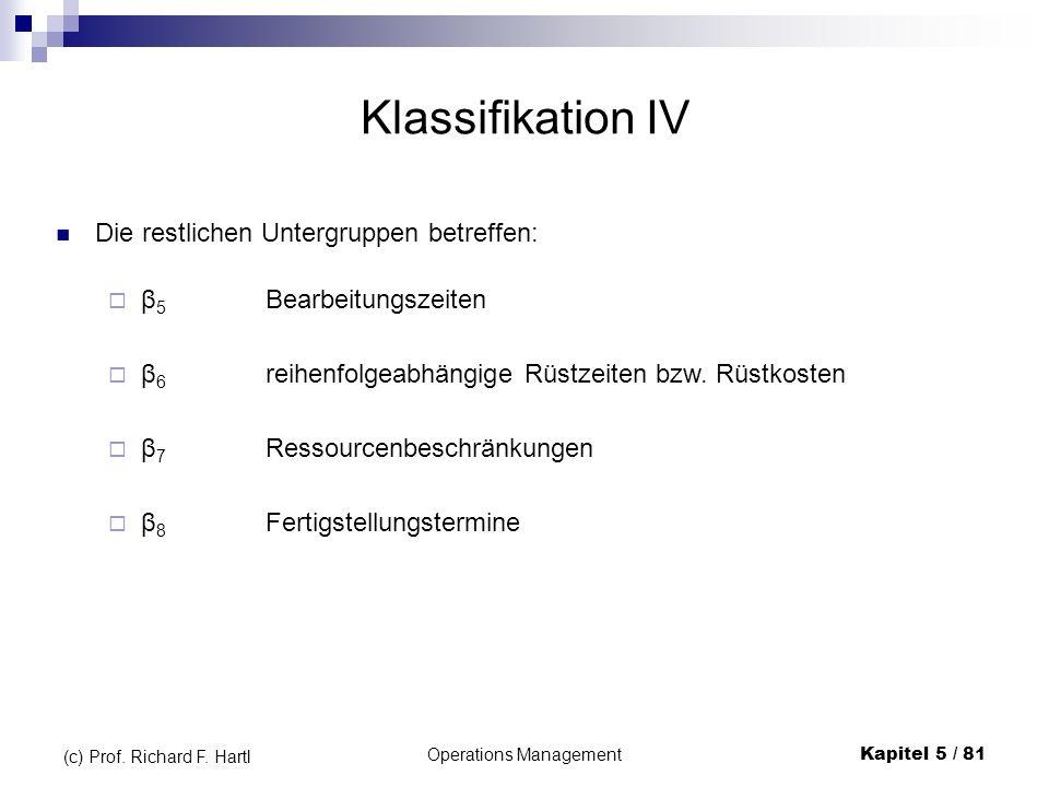 Operations ManagementKapitel 5 / 81 (c) Prof. Richard F. Hartl Klassifikation IV Die restlichen Untergruppen betreffen: β 6 reihenfolgeabhängige Rüstz