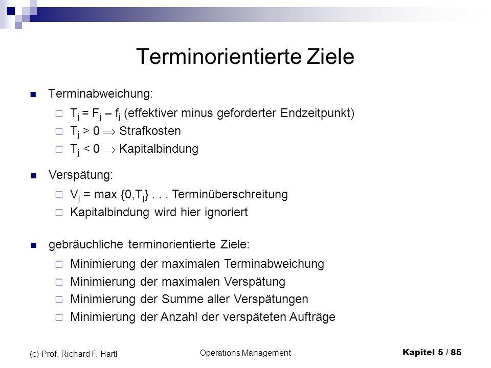 Operations ManagementKapitel 5 / 85 (c) Prof. Richard F. Hartl Terminorientierte Ziele Terminabweichung: T j = F j – f j (effektiver minus geforderter