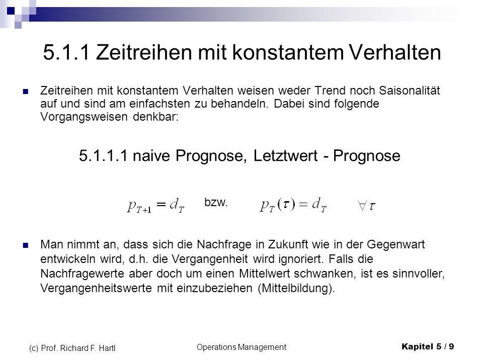 Operations ManagementKapitel 5 / 9 (c) Prof. Richard F. Hartl 5.1.1 Zeitreihen mit konstantem Verhalten Zeitreihen mit konstantem Verhalten weisen wed