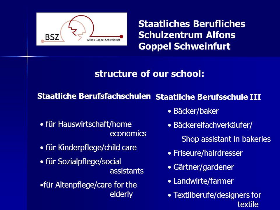 Staatliches Berufliches Schulzentrum Alfons Goppel Schweinfurt Staatliche Berufsfachschulen für Hauswirtschaft/home economics für Kinderpflege/child c