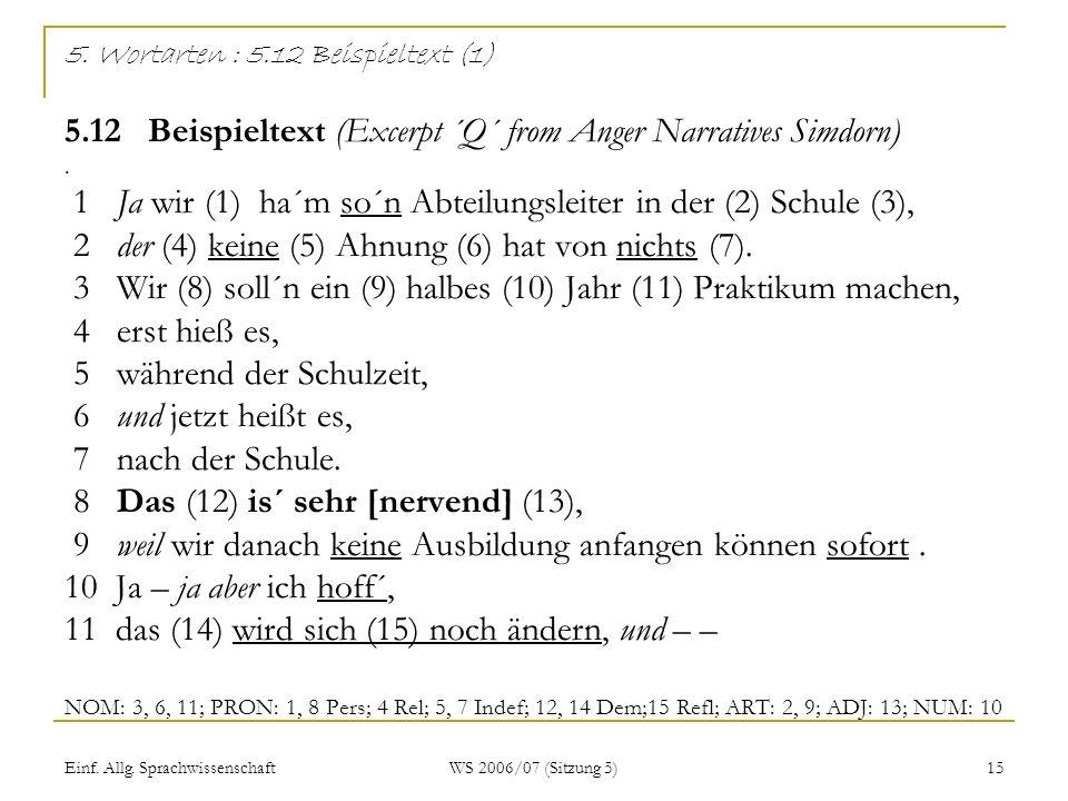 Einf. Allg. Sprachwissenschaft WS 2006/07 (Sitzung 5) 15 5. Wortarten : 5.12 Beispieltext (1) 5.12 Beispieltext (Excerpt ´Q´ from Anger Narratives Sim