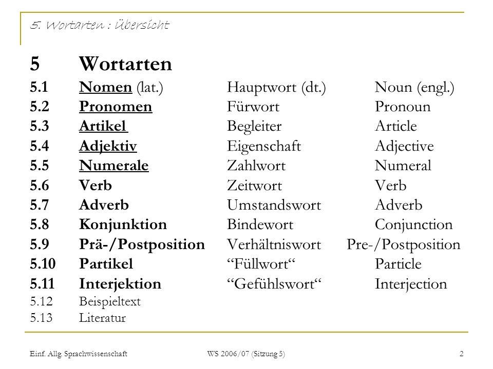 Einf. Allg. Sprachwissenschaft WS 2006/07 (Sitzung 5) 2 5. Wortarten : Übersicht 5 Wortarten 5.1 Nomen (lat.)Hauptwort (dt.)Noun (engl.) 5.2 PronomenF