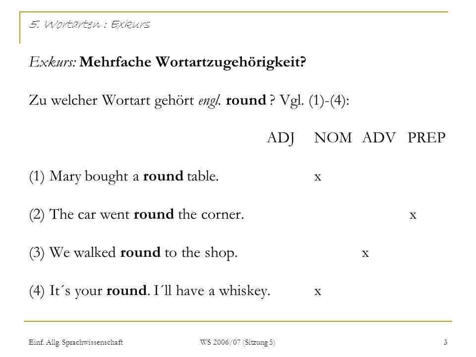 Einf. Allg. Sprachwissenschaft WS 2006/07 (Sitzung 5) 3 5. Wortarten : Exkurs Exkurs: Mehrfache Wortartzugehörigkeit? Zu welcher Wortart gehört engl.