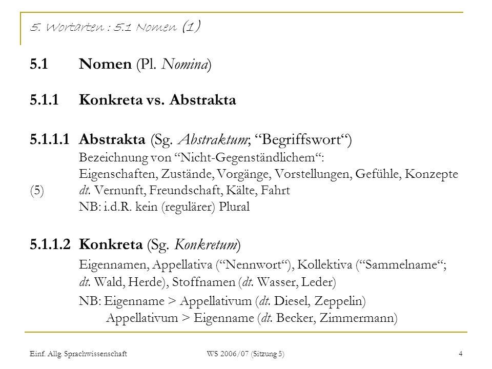 Einf. Allg. Sprachwissenschaft WS 2006/07 (Sitzung 5) 4 5. Wortarten : 5.1 Nomen (1) 5.1 Nomen (Pl. Nomina) 5.1.1 Konkreta vs. Abstrakta 5.1.1.1 Abstr