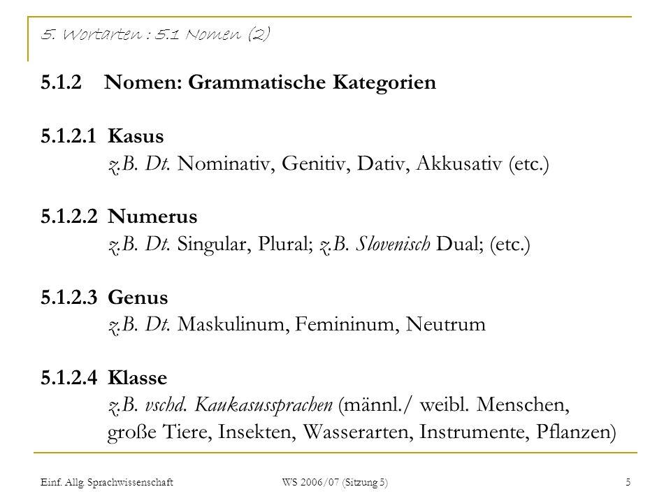 Einf. Allg. Sprachwissenschaft WS 2006/07 (Sitzung 5) 5 5. Wortarten : 5.1 Nomen (2) 5.1.2 Nomen: Grammatische Kategorien 5.1.2.1Kasus z.B. Dt. Nomina
