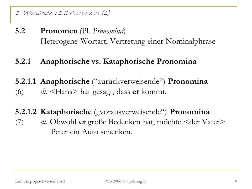 Einf. Allg. Sprachwissenschaft WS 2006/07 (Sitzung 5) 6 5. Wortarten : 5.2 Pronomen (1) 5.2Pronomen (Pl. Pronomina) Heterogene Wortart, Vertretung ein