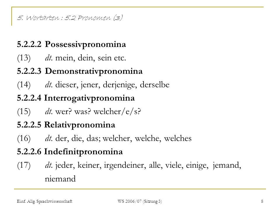 Einf. Allg. Sprachwissenschaft WS 2006/07 (Sitzung 5) 8 5. Wortarten : 5.2 Pronomen (3) 5.2.2.2Possessivpronomina (13)dt. mein, dein, sein etc. 5.2.2.